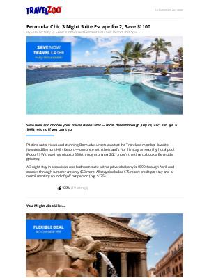 Travelzoo - Bermuda: Chic 3-Night Suite Escape for 2, Save $1100