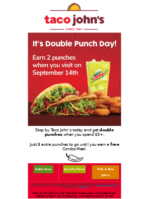 Taco John's - Earn Double Punches Today!