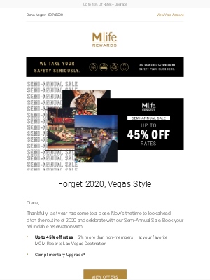 MGM Resorts - Make a resolution to get away with our Semi-Annual Sale.