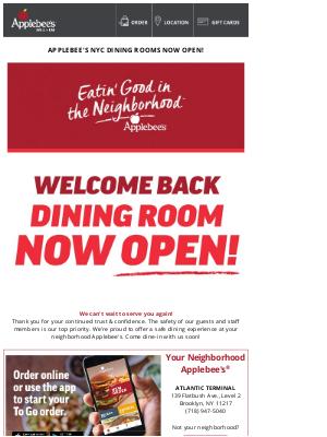 Applebee's - Applebee's NYC Dining Rooms Now Open!