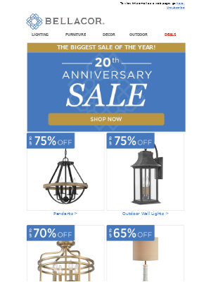 Bellacor - 🍾 Champagne & Savings! 20th Anniversary Sale (Biggest Sale of the Year!)