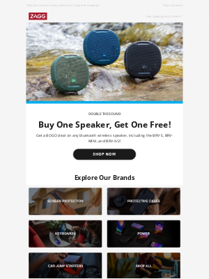 ZAGG - Buy One Waterproof and Portable Speaker and Get One Free!