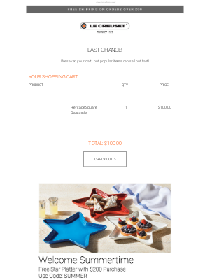Le Creuset - Your Cart is Still Here, Come Back For Another Look