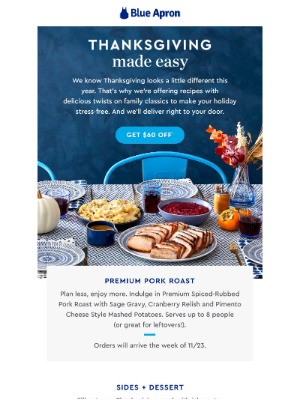 Blue Apron - $60 OFF + Our Thanksgiving Menu