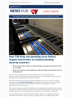 Delta Air Lines - How TSA lines are speeding up at Delta's largest hub thanks to industry-leading security scanners