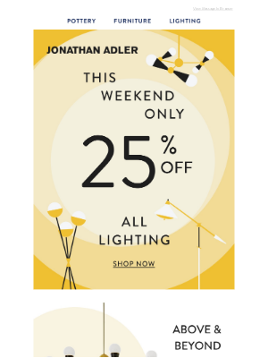 This Weekend Only: 25% Off Lighting
