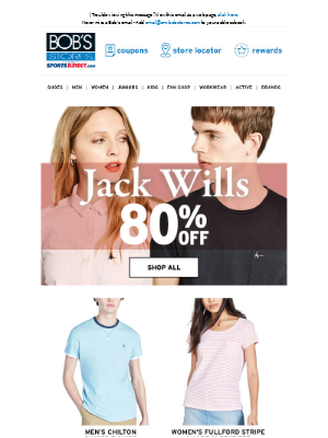 Bob's Stores - ⚫ 80% OFF Jack Wills Clothing ⚪