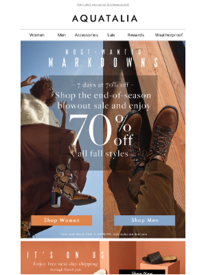 Aquatalia - 70% Off Fall Styles for 7 Days | End-Of-Season Markdowns