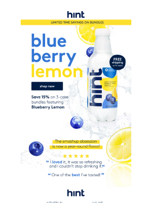 Hint Water - Blueberry Lemon is here to stay, but this sale isn't!