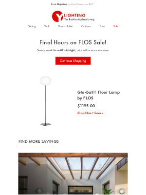 YLighting - Final Hours: Save on Glo-Ball F Floor Lamp by FLOS.