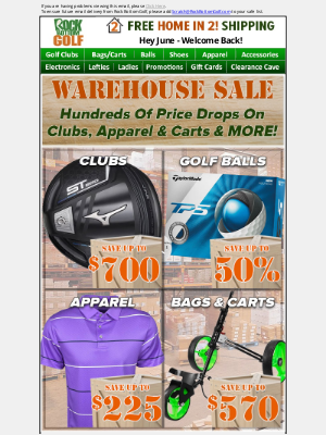 Rock Bottom Golf - 🚚📦 Warehouse Sale w/ HUNDREDS Of Price Drops - ENDS @ MIDNIGHT!
