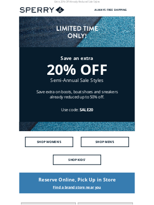 Sperry - Limited Time! Extra 20% Off Semi-Annual Sale Styles