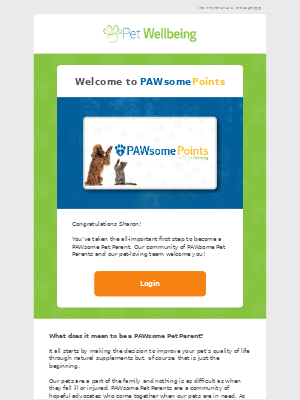 Pet Wellbeing - Sharon , You are now a PAWsome Points Member!