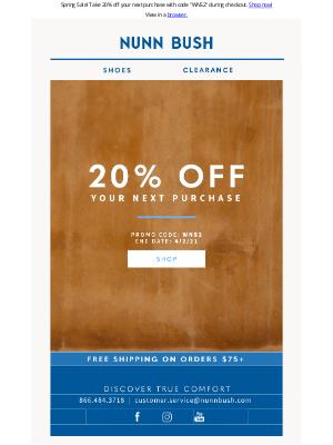 Nunn Bush - 20% Off Sitewide