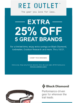 REI - Extra 25% Off 5 Great Brands