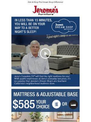 Jerome's Furniture - Mattress & Adjustable Base   Just $13/Month!