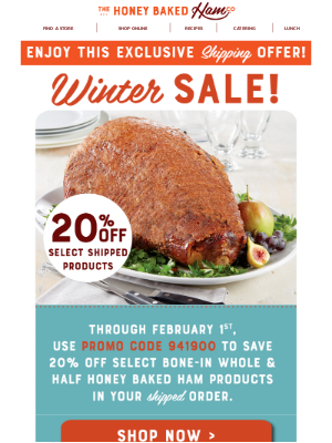 HoneyBaked Ham Online - 🍖Limited Time Offer - 20% off Select Shipped Products!