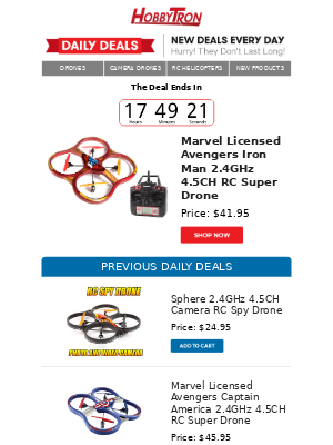 $41.95 -Marvel Licensed Avengers Iron Man 2.4GHz 4.5CH RC Super Drone