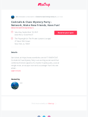 Meetup - 📣 Just scheduled: Cocktails & Clues Mystery Party - Network, Make New Friends, Have Fun!