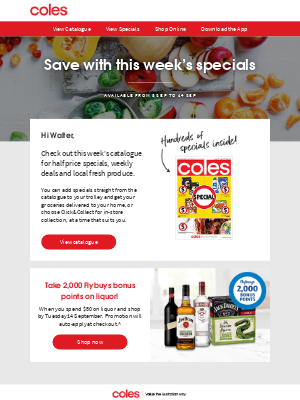 Coles (AU) - Our catalogue is out now & it's filled with half price specials, Walter
