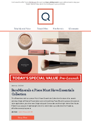 QVC (UK) - See Today's Special Value Pre-Launch: BareMinerals 4 Piece Must Have Essentials Collection