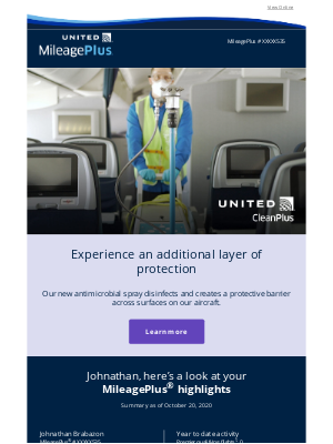 United Airlines - October monthly statement: Check out our new antimicrobial technology