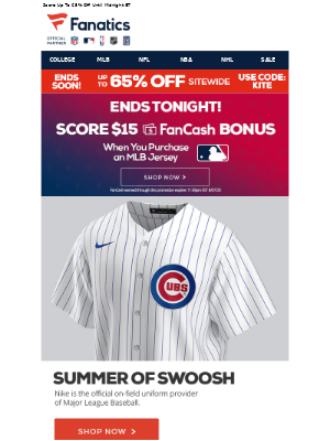 National Basketball Association (NBA) - Last Chance For A $15 FanCash Bonus On MLB Jerseys!