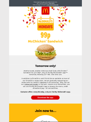 McDonald's (UK) - 99p McChicken® Sandwich? Must be a McDonald's Monday!