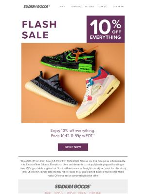 Stadium Goods - Flash Sale! 10% off everything