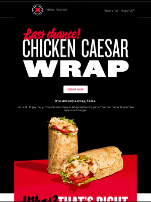 Jimmy John's - 🌯 Last chance to order the Chicken Caesar Wrap!