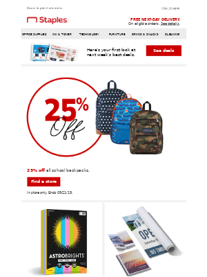 25% off! Your new backpack is waiting.