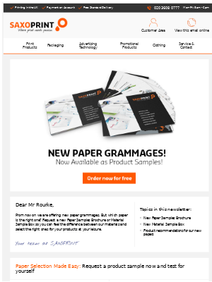New Paper Grammages - Also Available as Product Samples