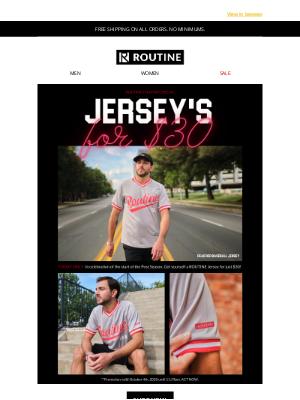 Routine Baseball - The Start of Post Season Baseball = $30 Jersey's!
