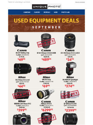 Unique Photo - Last Chance! September Used Equipment Deals