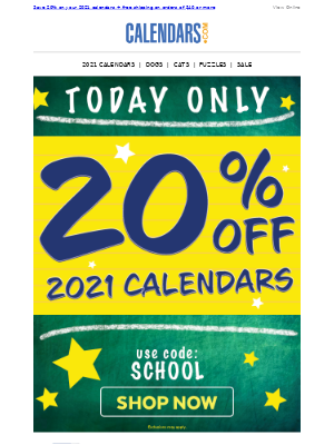20% Off Calendars!! | ONE DAY ONLY