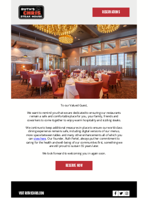 Ruth's Chris - Enjoy A Safe Dining Experience This Weekend