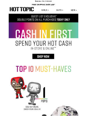 Hot Topic - HOT CASH is here! You get the first peek ➡️