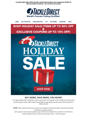TackleDirect - 🎣 Catch Holiday Sale Items Up to 50% OFF and Exclusive Coupons Up to 15% OFF!
