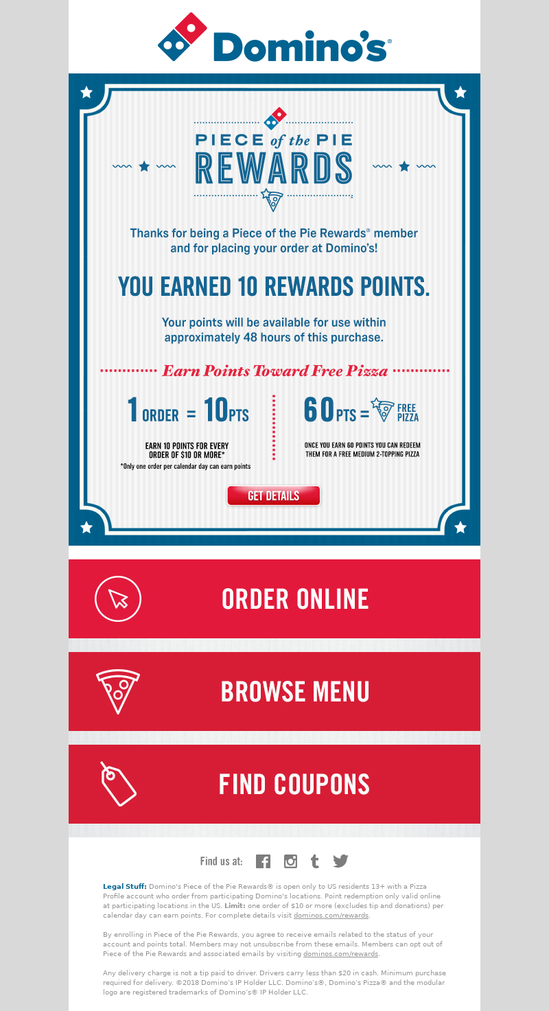 Customer rewards email example from Dominos