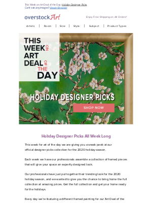 overstockArt - Holiday Designer Picks All Week on Art Deal of the Day!