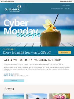 Outrigger Hotels - Vacation Vibes Inside: 3rd Night Free + 25% Off