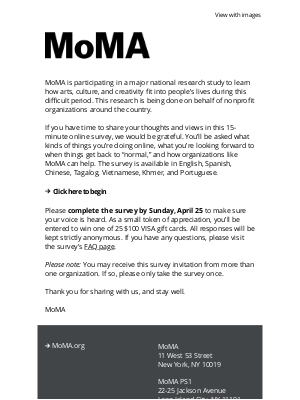 Museum of Modern Art Store (MoMA) - A survey about your creativity, culture, and community during these challenging times