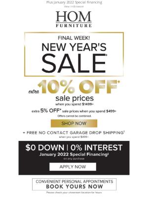 HOM Furniture - New Year's Sale Final Week