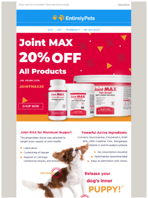 EntirelyPets - Save 20% on Pet Joint Supplements with Joint MAX