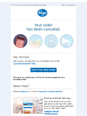 No worries, Michael, we've canceled your order.