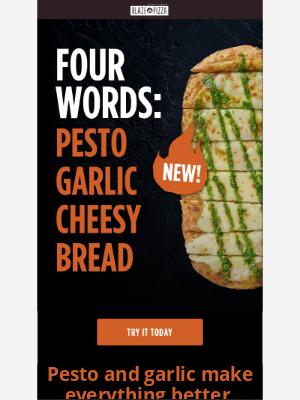 Blaze Pizza - NEW Pesto Garlic Cheesy Bread. Get it today!