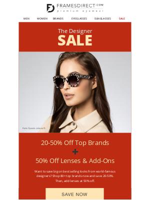 FramesDirect - The Designer Sale: 20-50% Off Top Designers