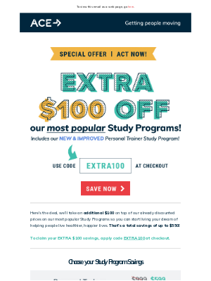 ACE Fitness - Just for you: Extra $100 OFF Study Programs