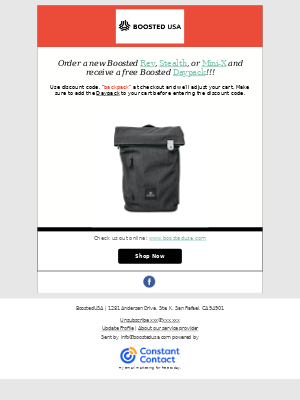 Boosted Boards - Free Boosted Backpack