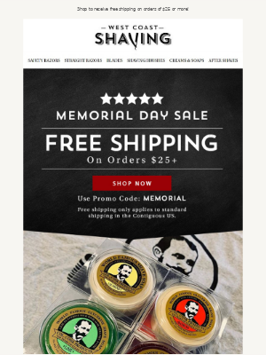 Celebrate Memorial Day With FREE Shipping 🎉